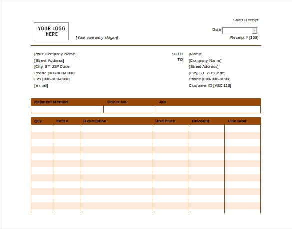 ms word format payment receipt free template1