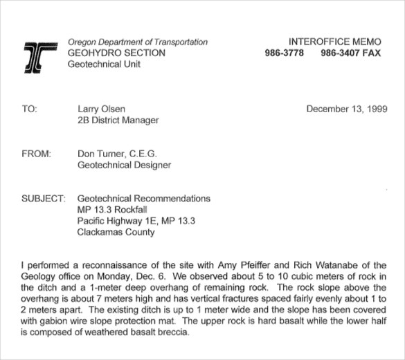 Interoffice Memo Geo Technical Sample Template Download  Interoffice Memorandum Format