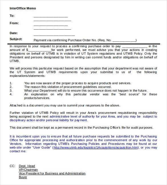 procurement interoffice memo word document download1