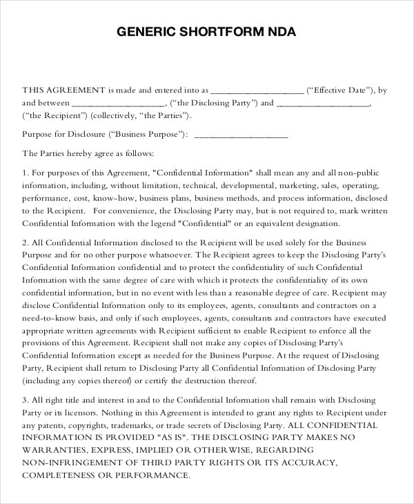 Standard Non Disclosure Agreement Form   Examples In Pdf Word
