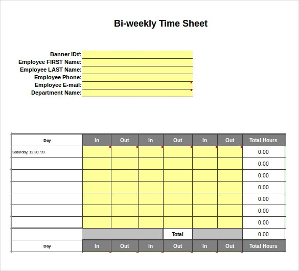 Excel Timesheet Templates  Free Sample Example Format Download