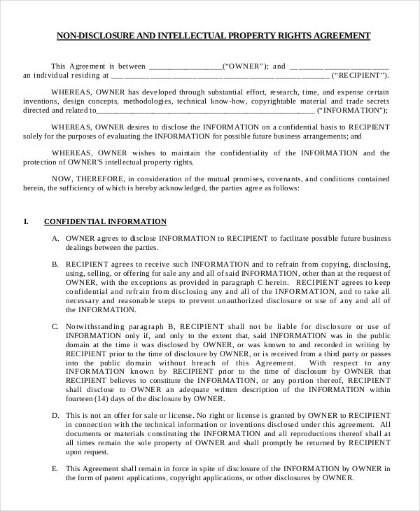 Free Non Disclosure Agreement Form – 10 Free Word PDF