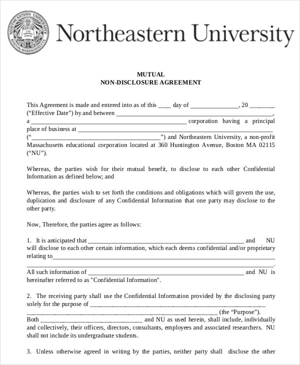Mutual Non Disclosure Agreement Form – 10+ Free Word, Pdf