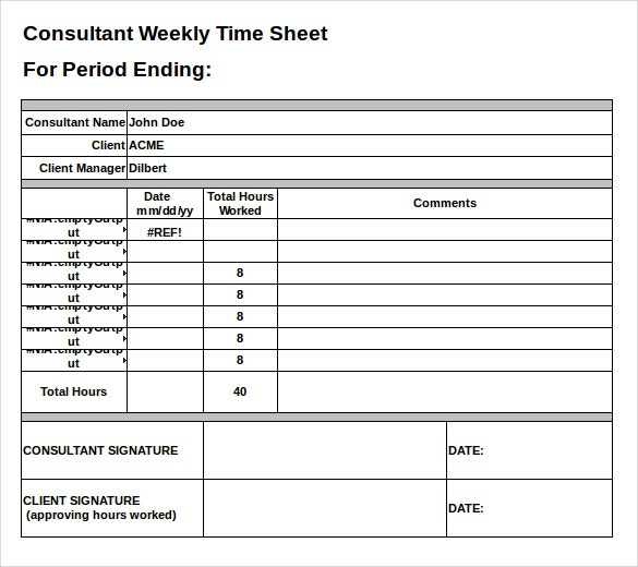 Microsoft excel timesheet template excel timesheet for Consultant time tracking template