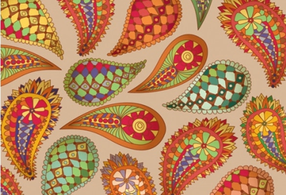 set of paisley pattern seamless vector free download