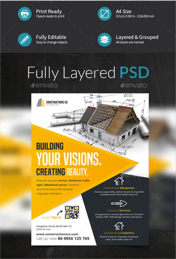beautiful construction company flyer template download