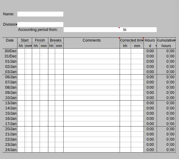 working hours timesheet excel template download