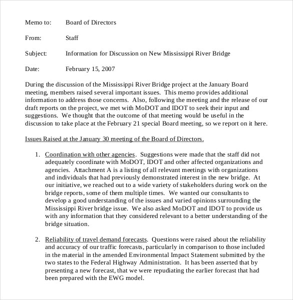 board of directors meeting memo template sample format