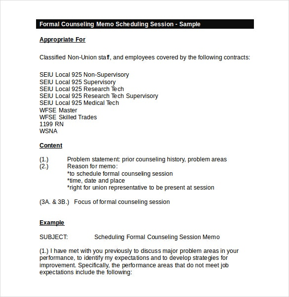 Superb Formal Counseling Memo Meeting Scheduling Session