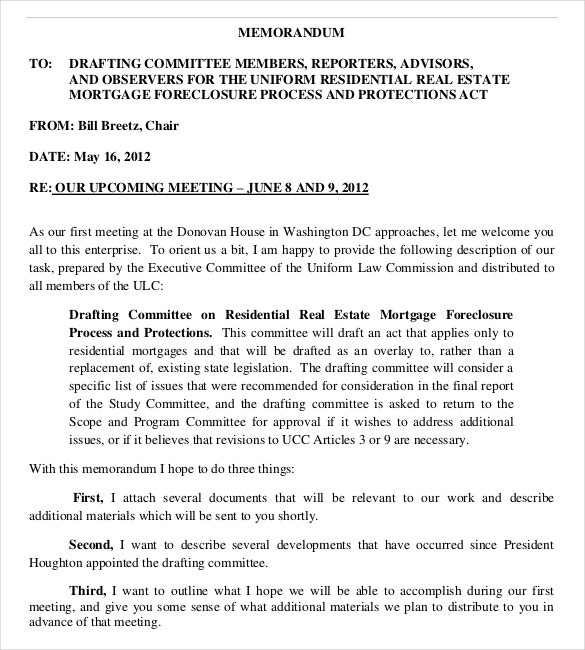 Free Realestate Committee Meeting Memo Template Download