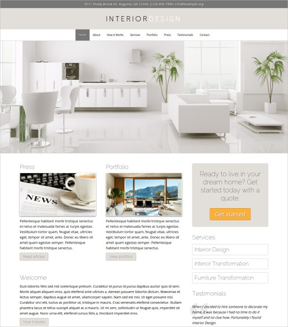 Interior Home Decor Design WordPress Theme. Free Demo Download