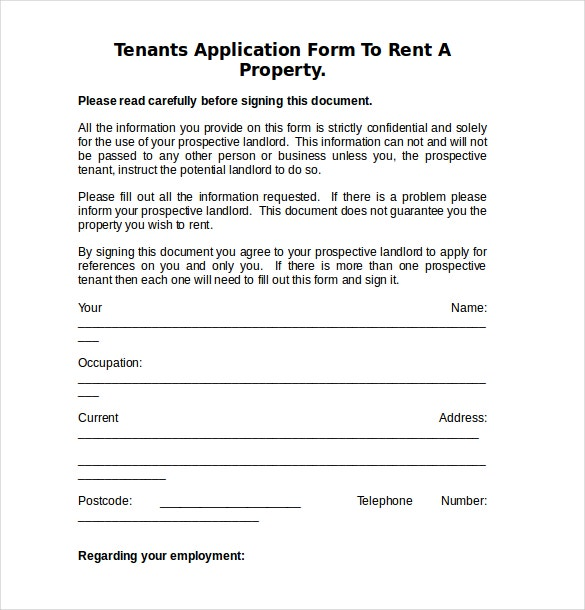 Tenant Information Form Ownertenant Information Sheet Email