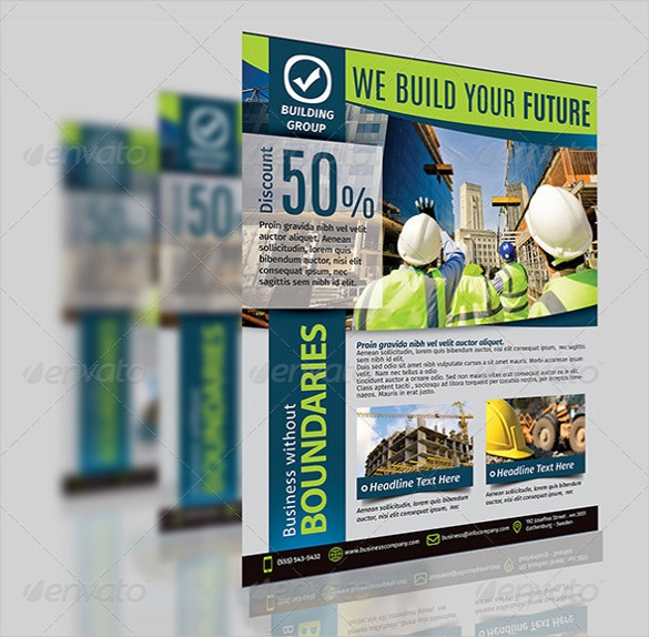 graphical construction company flyer download