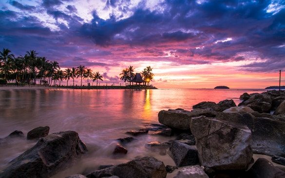 sunset beach wallpaper for download