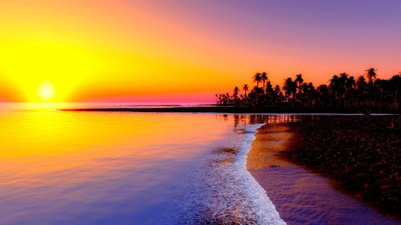 evening beach wallpaper for download