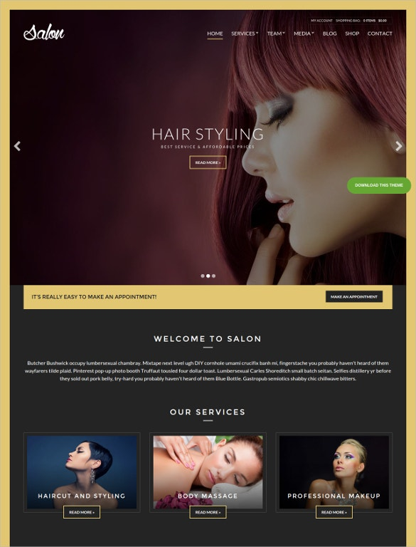 beauty hair salon wordpress website template