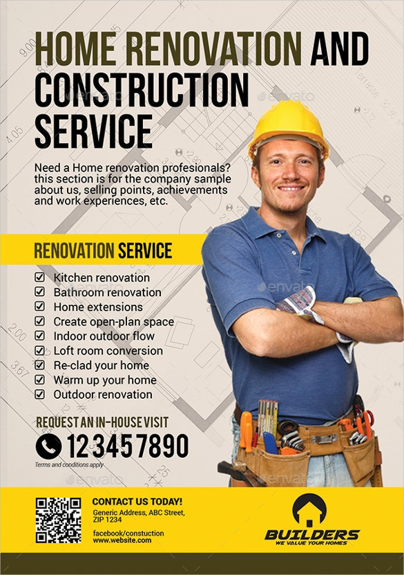 Construction Services Flyer : Construction company flyer free psd ai vector eps