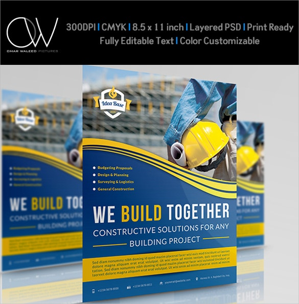 construction company business flyer template download