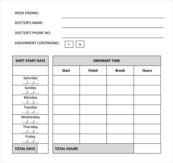 medical daily timesheet template download