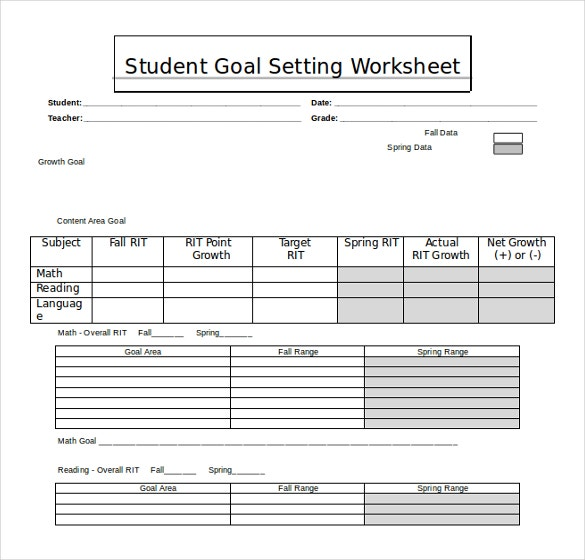 ms word student goal setting worksheet free template