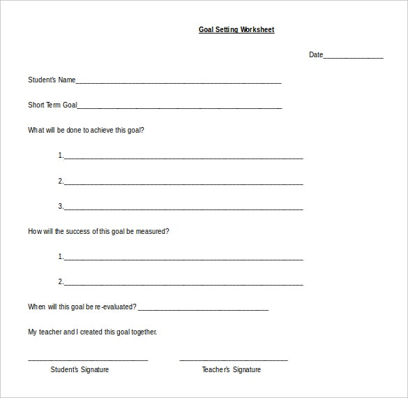 goal setting worksheet template free word format