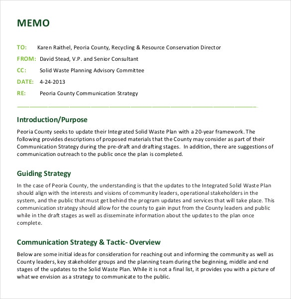 template for writing a memo - 12 strategy memo templates free sample example format