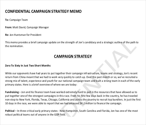 Strategy Memo Templates  Free Sample Example Format