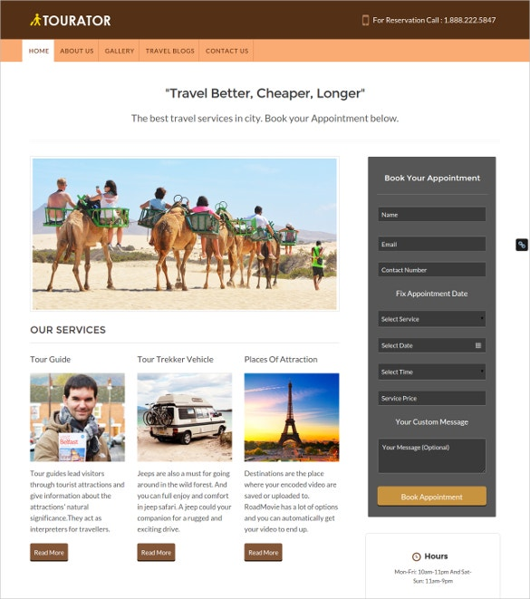 tour operator service wordpress theme