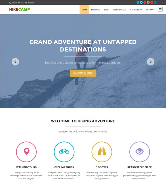 hiking tent wordpress theme