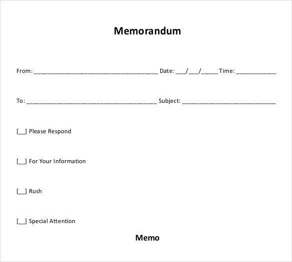 Blank Memo Templates  Free Sample Example Format Download