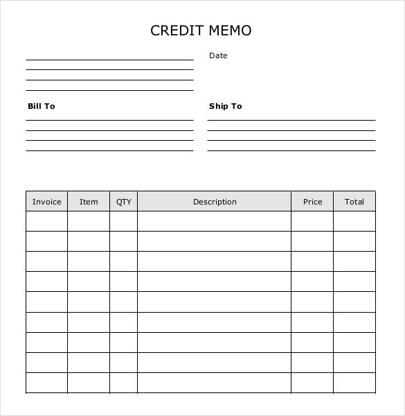 Awesome Blank Credit Memo Template Sample Download