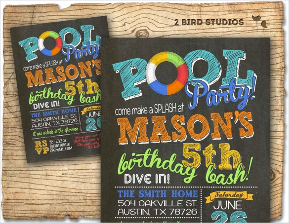 chalkboard pool party invitation template printable