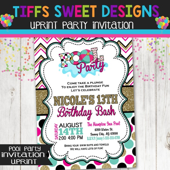 summer water pool party invitation template download