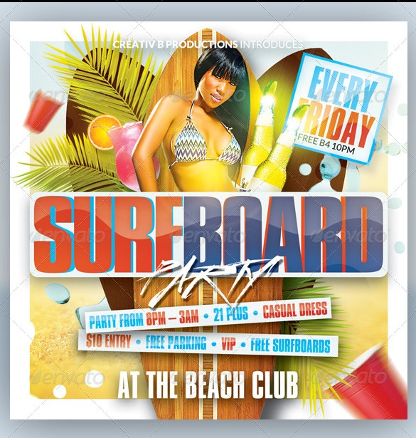 surfboard pool party flyer template psd design download