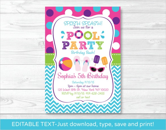 Pool party invitation template 38 free psd format download girls pool party invitation printable template download stopboris