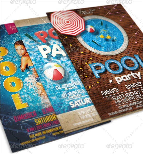 best designs of pool party flyer bundle psd format
