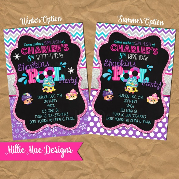 Download Swim Party Invitation Orderecigsjuiceinfo - Blank shopkins birthday invitations