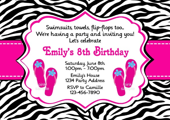 download birthday girl pool party invitation template