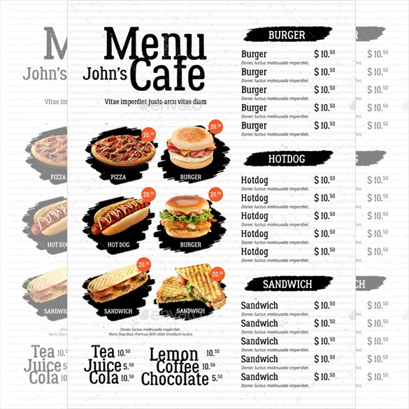 Cafe Menu Template 39 Free Word PDF PSD EPS InDesign Format – Sample Cafe Menu Template
