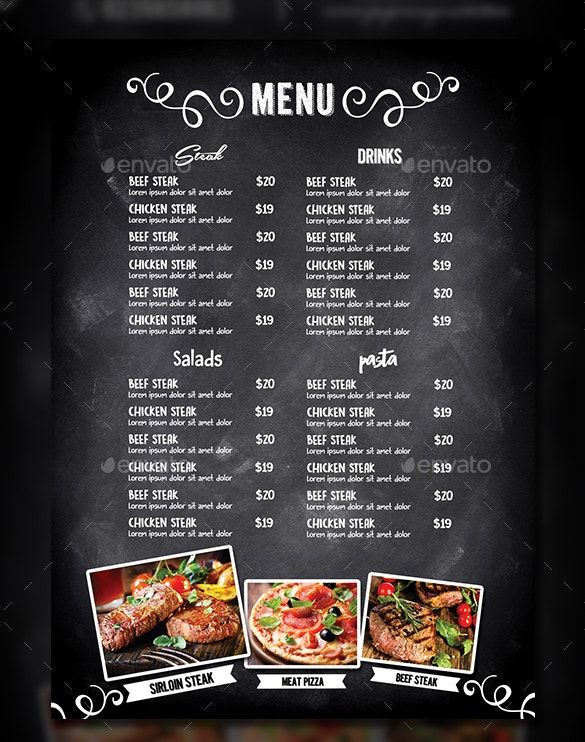 Blackboard Cafe Menu Template PSD Format Premium Download  Free Word Menu Template