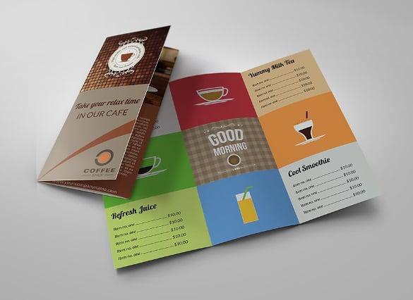 cafe tri fold brochure menu template premium download