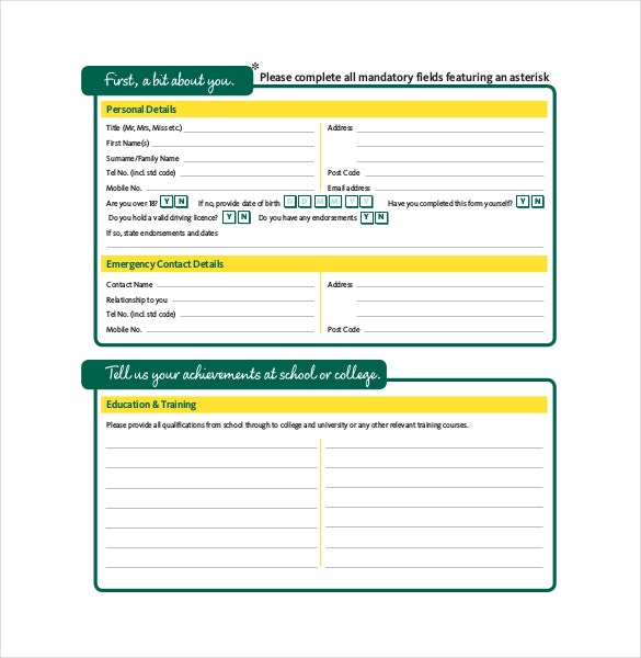 Application Form Template – 10+ Free Word, Pdf Documents Download