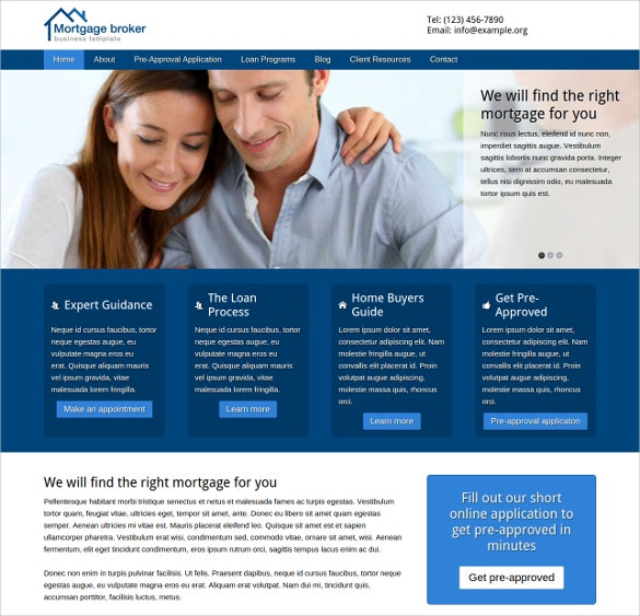 19 mortgage website themes templates free premium for Free mortgage flyer templates