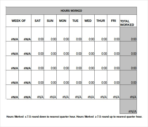 monthly timesheet template excel format