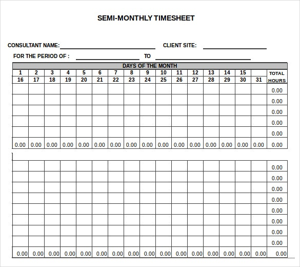 13 Monthly Timesheet Templates Free Sample Example Format – Consultant Timesheet Template