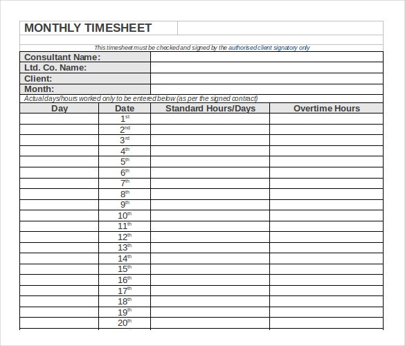 monthly timesheet template word format download