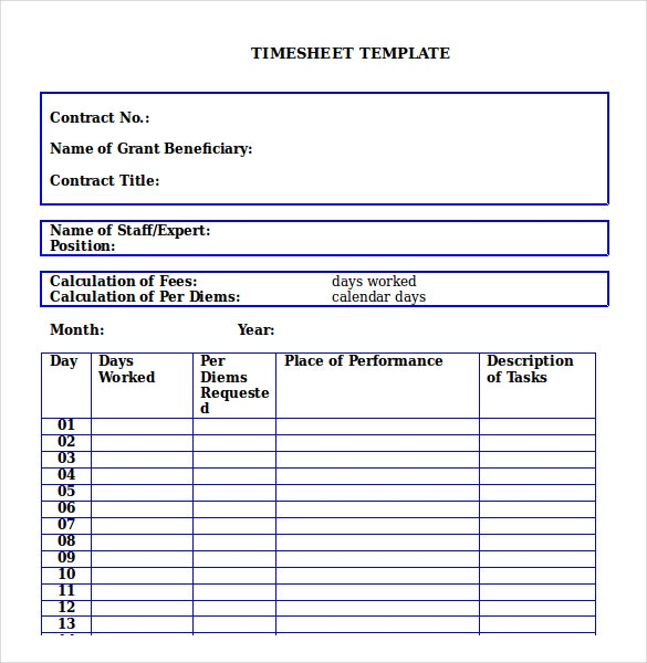 Timesheet Format Free Download  NinjaTurtletechrepairsCo