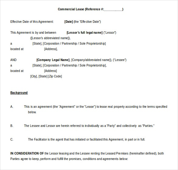 ms word 2010 format commercial lease agreement template