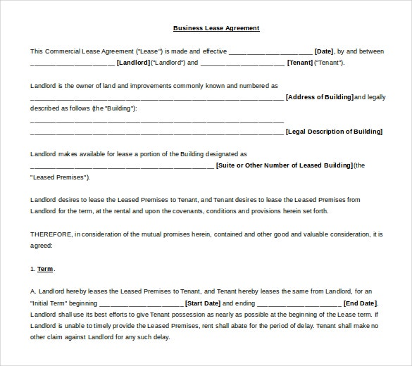 business lease agreement template free word download