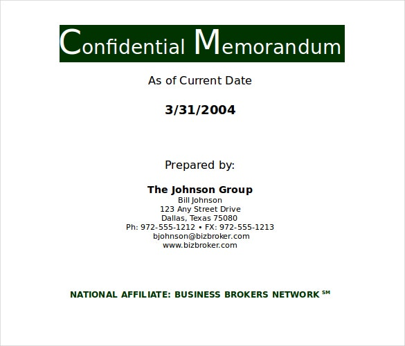 Confidential Memo Templates  Free Sample Example Format